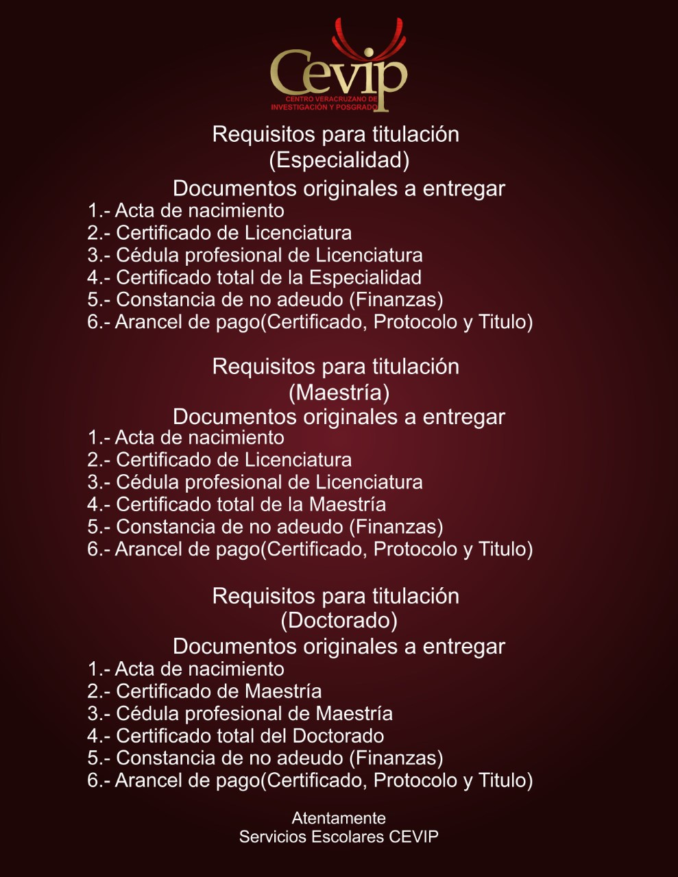 Requisitos de Titulación
